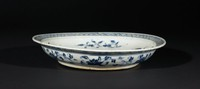 Porcelain with blue and white designs. Central design of peony flower surrounded by four vegetable plants, cross hatch design on flange rim.