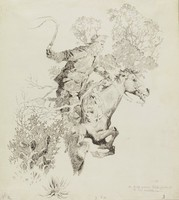 A Half-Grown Tree Forked To His Saddle Horn, Will Crawford, pen and ink on paper