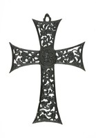 Cast-iron cross pendant, each arm pierced and with scrolling foliage motifs, in the center a small medallion with a rosette.