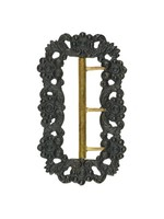 Cast-iron buckle heavily decorated with rosettes and acanthus leaves, the prongs gold.