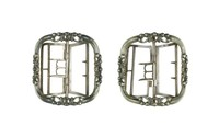 Pair of cut steel shoe buckles, square in shape and pierced with swags and beading.