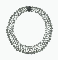 Necklace comprised of delicate elements of iron filigree, the links of graduated sizes in the shape of circles and ovals, at each end a rosette, the clasp a cast-iron oval, pierced medallion with rosebush motif.