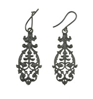 Pair of cast-iron earrings, pierced and with scrolling foliage; extended earwires, one bent.