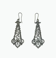 Pair of cast-iron earrings, lozenge-shaped with each end in the form of Gothic tracery with crockets, scrolled foliage, and a small central rosette.