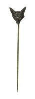Cast-iron stick pin, the finial in the form of a fox head.