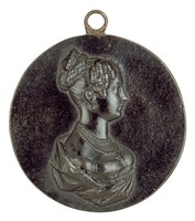 Bust in profile right wearing three-strand pearl necklace with cross pendant, earrings, diadem, and ermine mantle. Elisabeth Ludovica was the daughter of King Maximilian I Joseph of Bavaria, 1823 married Crown Prince Friedrich Wilhelm of Prussia.