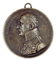 Bust in profile left in Prussian uniform with several medals including the Order of the Black Eagle, the Iron Cross, and the National Order of Merit.