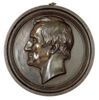 Cast-iron portrait head of King Johann I of Saxony (1801-73) in profile left.