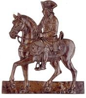 "Modeled after an engraving ""Fredéric II Roi de Prusse"" by Daniel Nikolaus Chodowiecki."