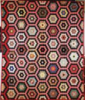 """Quilt, """"Mosaic"""" pattern, United States, silk, satin, cotton, velvet"""