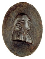 Bust in profile right in civilan uniform with crossed hammer and gad on epaulet.