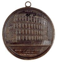 Probably a later cast of the obverse of a medal commemorating the restoration of the Coliseum after 1825.
