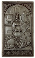 """In an arch with tracery above and below sits a female figure—the patron goddess of industry—among products of the Royal Prussian Iron Foundry Sayn—urns, cannon and cannon balls, machine parts, and architectural elements—as an allegory of the iron industry, wearing a crown in the form of a foundry oven, in her left hand she holds a tablet with a crown and the initials """"FWE"""" (ligated) and the year """"1826,"""" her right hand holds a stylus, with which she points to the tablet, at her feet is the name of the foundry """"Saynerhutte"""" and a small shield, below the main scene is a band of quatrefoil motifs."""