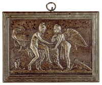 Cupid and Ganymede Playing Dice, Modeled after a relief (1831) by Bertel Thorwaldsen, Ilsenburg, cast iron
