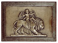 Cupid Riding a Lion, Modeled after a relief (1831) by Bertel Thorwaldsen, Ilsenburg, cast iron