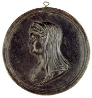 Bust in profile left with diadem and shawl over the head.
