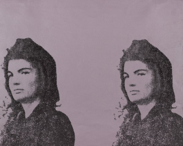 """Photograph of the head and shoulders of Jacqueline Kennedy reproduced twice in black on a lavender background and published in the portfolio """"11 Pop Artists II."""""""