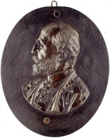 Bust three-quarters left in uniform with medals.