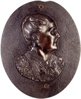 Bust three-quarters right. A pendant to the portrait of her husband, Friedrich II, Duke of Anhalt (1986.475a).