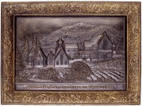 Cast-iron plaque with a view of the new casting hall built in the neo-Gothic style at the Royal Hanover Iron Foundry at Königshütte, in self-cast and gilt frame with grape leaves and grapes.