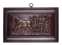 Classical figures with horses in cast-iron frame.