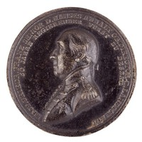 Obverse: Bust in profile left in uniform. Reverse: The seated Minerva supports the Anhalt-Dessau coat of arms, in her right hand she holds a wreath, a bear rests at her feet; and she is surrounded with symbols of justice, the arts, and sciences.