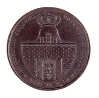 Obverse: Arms of Krakow. Reverse: Three areas enclosed by oak leaves, each with an inscription.