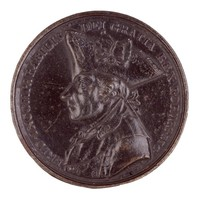 Obverse: Bust in profile left. Reverse: A smoking urn on pedestal with symbols of art, science, commerce, and war below a wreath of stars with eagle.