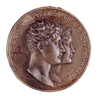 Obverse: The heads of Crown Prince Ludwig (1786-1868; 1825-48 King) and Crown Princess Theresa (1792-1854) of Bavaria in profile right. Reverse, blank.