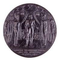 Obverse: King Friedrich Wilhelm III of Prussia and his troops under a canopy. Reverse: Laurel wreath.