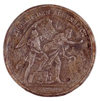 Obverse: A young man attempting to catch the fleeing Chronos (with bill hook). Reverse: A figure being carried by the winged Chronos.
