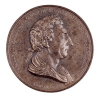 Obverse: Bust as Roman emperor in profile right. Reverse: The army and navy paying homage to the king.