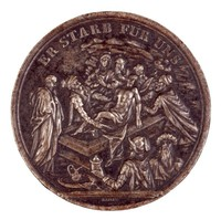 Obverse: The Entombment. Reverse: Symbols of work and diligence, an altar with the Bible, and a skull on which a butterfly rests.