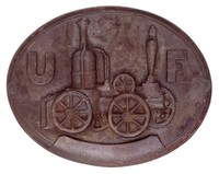 Modeled after a fire mark issued by the United Fireman's Insurance Company of Philadelphia in 1860 (reproduction).