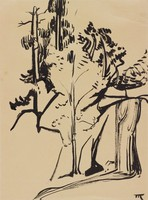Waterfall, Marguerite Thomson Zorach, India ink on paper