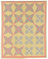 Cotton in pink, green with yellow background; star design, hand sewn.