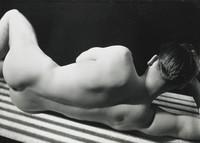 Untitled (Nude On Striped Cover), George Platt Lynes, gelatin silver print