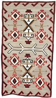 Rug (Eastern Reservation style), Diné (Navajo) people, Southwestern Region, Native American, wool with aniline and vegetal dyes
