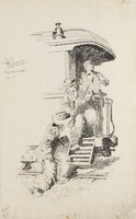 The Puncher Sprang Upon the Steps and Wrenched the Rifle from its Owner, Will Crawford, pen and ink on paper