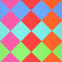 An abstract composition made of rows of diamonds in blue, green, pink, red, and orange.