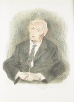Portrait of Isaac B. Singer, Raphael Soyer, color lithograph