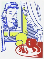Still Life with Portrait, from the Six Still Lifes series, Roy Lichtenstein, (Co-)Published by Multiples, Inc., and Castelli Graphics, Printed by Styria Studio, Inc., lithograph and screenprint with debossing on Rives BFK paper