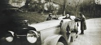 On the Road to Houlgate with Mamy, Bibi, and Yves, the Chauffeur in a Hispano - Suiza 32HP, April 1927, Jacques Henri Lartigue, gelatin silver print