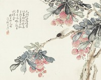 Cicada and Lychees, Zhu Lian, ink and color on silk