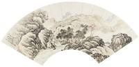 Landscape, Li Kui, ink and color on mica ground paper