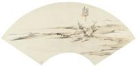 Bridge in Light Snow in Folding Fan Format, Liang Youwei, ink and color on silk