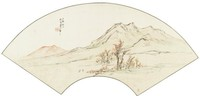 Partial Shade in the Autumn Mountains in Folding Fan Format, Liang Youwei, ink and color on silk