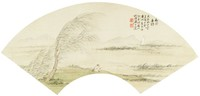 Angling in the Shade of Willows, Liang Youwei, ink and color on silk