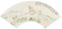 Tao Yuanming Picking Chrysanthemums, Liang Youwei, ink and color on paper with mica ground