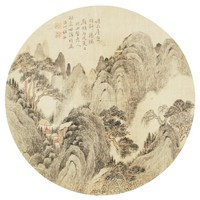 Rainy Summer Landscape Painted in the Style of Xiangbi Laoren in Round Fan Format, Du Xiang, ink and color on silk